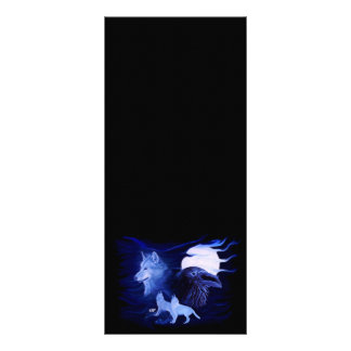 Wolf and Raven with full moon Rack Card Template