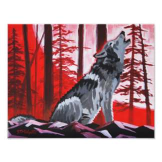 Wolf and red sky art photo