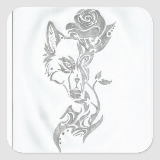 Wolf and rose square sticker