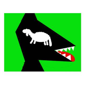 Wolf and sheep postcard