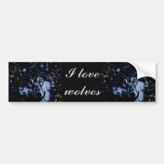 Wolf and stars car bumper sticker