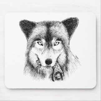 Wolf and Unlucky Little Guy Mousepads