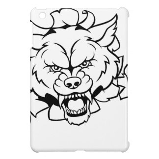 Wolf Animal Sports Mascot Breaking Background Cover For The iPad Mini