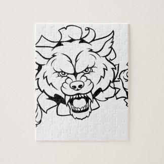 Wolf Animal Sports Mascot Breaking Background Jigsaw Puzzle