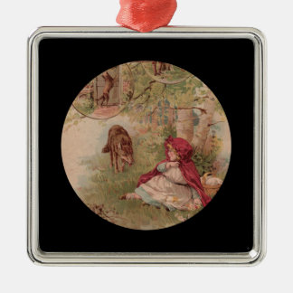 Wolf Approaches Red Riding Hood Silver-Colored Square Decoration