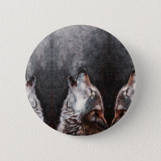 Wolf art - howling wolf - wolf painting 6 cm round badge