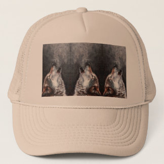 Wolf art - howling wolf - wolf painting trucker hat