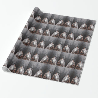Wolf art - howling wolf - wolf painting wrapping paper