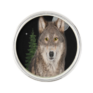wolf art lapel pin