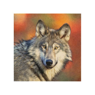 Wolf Art Painting Wood Canvases