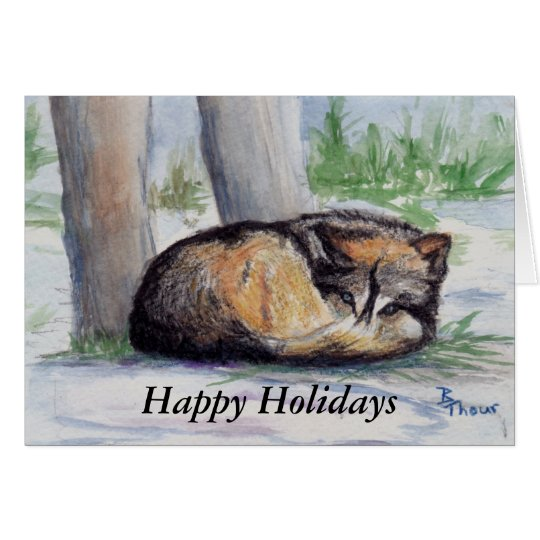 Wolf At Rest Holiday Card