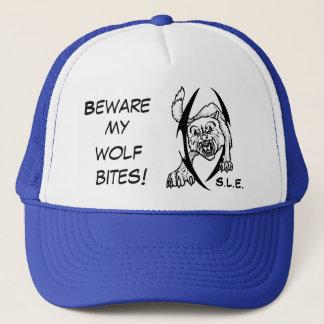 Wolf bites trucker hat