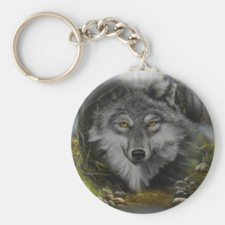 Wolf blending into River painting Key Ring