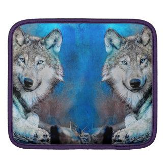 Wolf Blue Mixed Media Art iPad Sleeve
