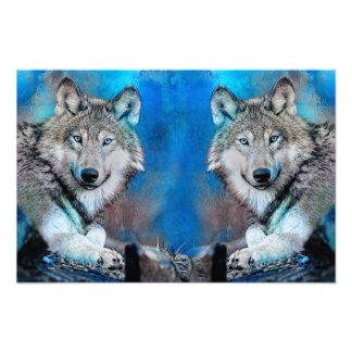 Wolf Blue Mixed Media Art Photo Print
