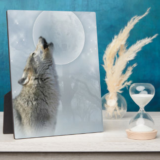 Wolf Blue Moon Plaque 8X10