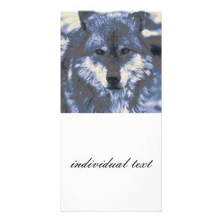 Wolf,blue Customized Photo Card