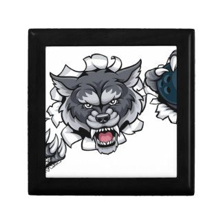 Wolf Bowling Mascot Breaking Background Gift Box
