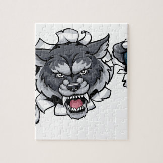 Wolf Bowling Mascot Breaking Background Jigsaw Puzzle