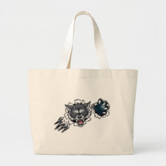 Wolf Bowling Mascot Breaking Background Large Tote Bag