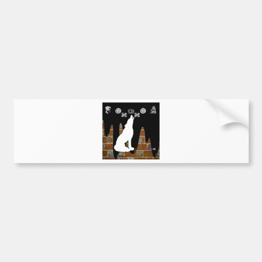WOLF BRICK BACKGROUND PRODUCTS BUMPER STICKERS