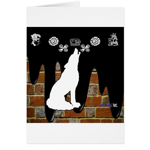 WOLF BRICK BACKGROUND PRODUCTS GREETING CARD