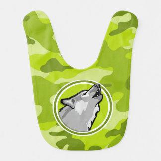 Wolf; bright green camo, camouflage baby bib