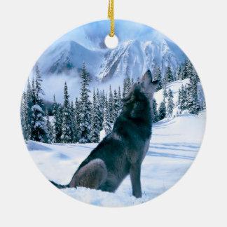 Wolf Call Ceramic Ornament