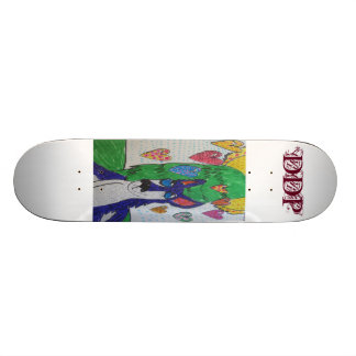 Wolf colorful and  pen art skate deck