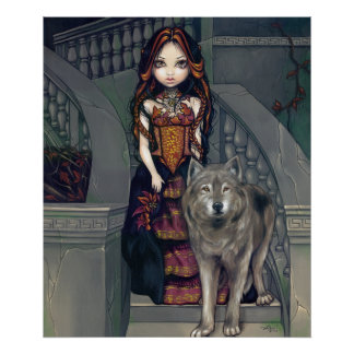 Wolf Countess ART PRINT wolves gothic vampire