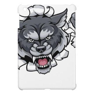 Wolf Cricket Mascot Breaking Background iPad Mini Cover