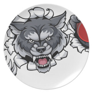 Wolf Cricket Mascot Breaking Background Plate