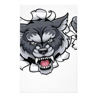 Wolf Cricket Mascot Breaking Background Stationery