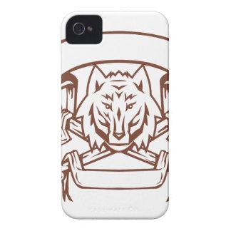 Wolf Cross Bones Banner Retro Case-Mate iPhone 4 Case