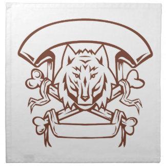 Wolf Cross Bones Banner Retro Napkin