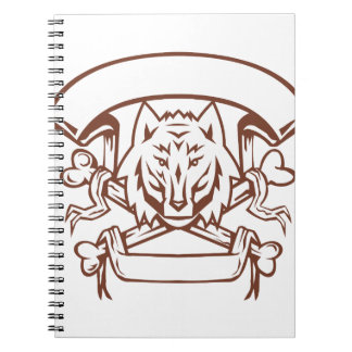 Wolf Cross Bones Banner Retro Notebook