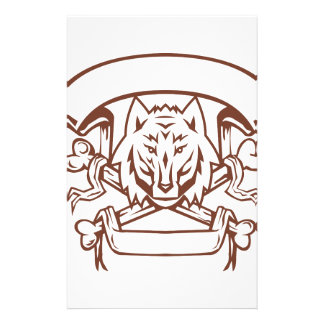 Wolf Cross Bones Banner Retro Stationery