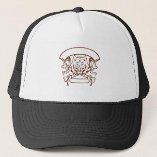 Wolf Cross Bones Banner Retro Trucker Hat
