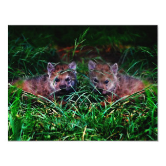 Wolf Cubs 11 Cm X 14 Cm Invitation Card