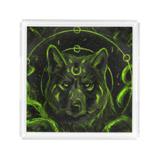 Wolf design graphic cool anime look acrylic tray