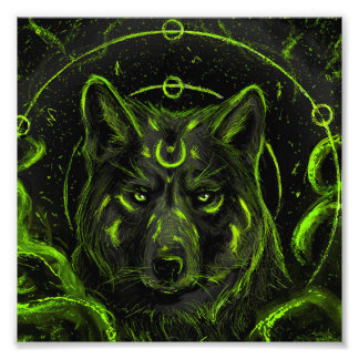 Wolf design graphic cool anime look photo print