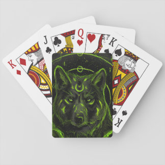 Wolf design graphic cool anime look playing cards