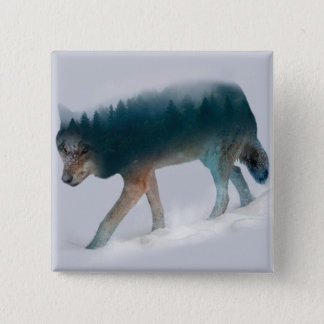 Wolf double exposure - wolf forest - wolf usa 15 cm square badge