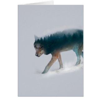 Wolf double exposure - wolf forest - wolf usa card