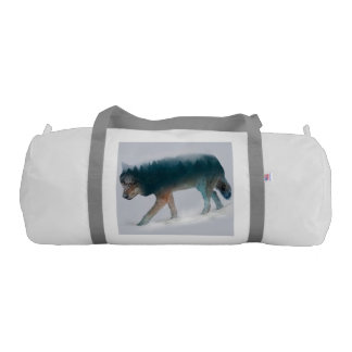 Wolf double exposure - wolf forest - wolf usa gym bag