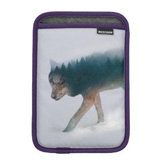 Wolf double exposure - wolf forest - wolf usa iPad mini sleeve