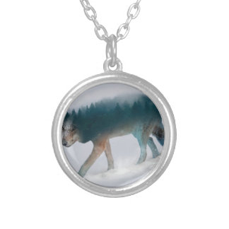 Wolf double exposure - wolf forest - wolf usa silver plated necklace
