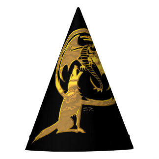 Wolf & Dragon Gold black wizard party hats