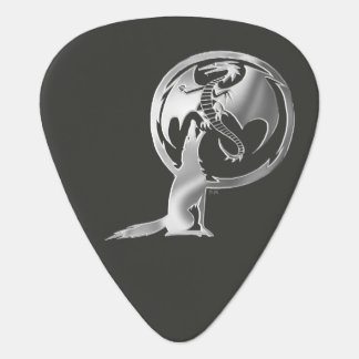 Wolf & Dragon Silver black guitar pick (2-sided)
