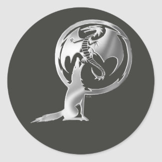 Wolf & Dragon Silver large round sticker